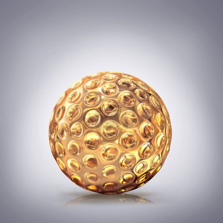 Golden golf ball  on grey  background.