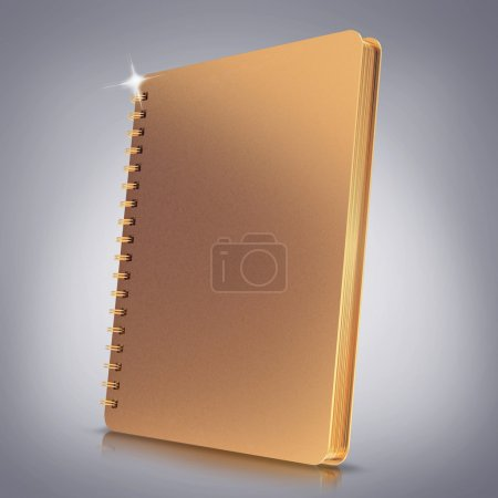 Golden notebook on grey  background.