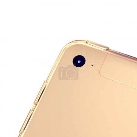 Golden phone on a white background