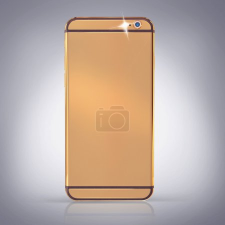 Golden phone on a grey  background