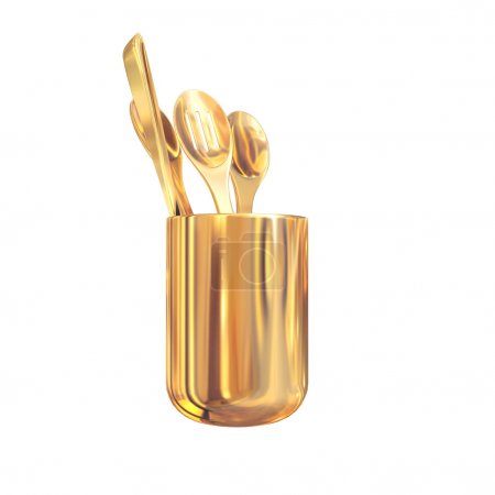 Golden  cutlery on a white  background.
