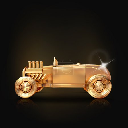 Golden vintage car on black background