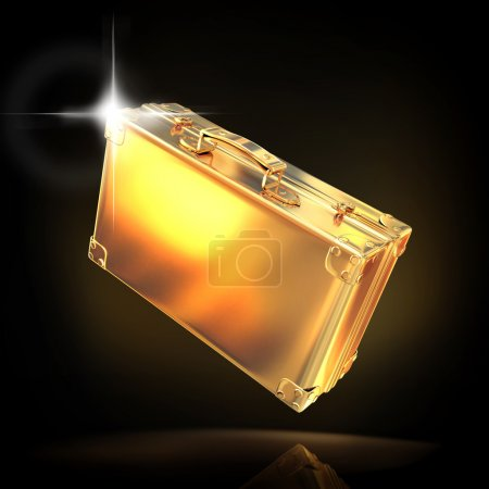 Beautiful golden briefcase representing  business on black background
