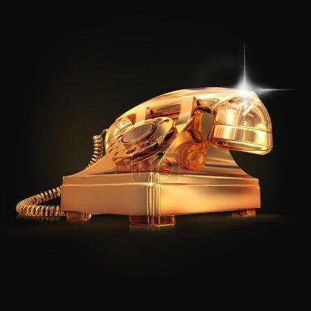 Photo pour Téléphone doré sur fond noir. Haute résolution - image libre de droit