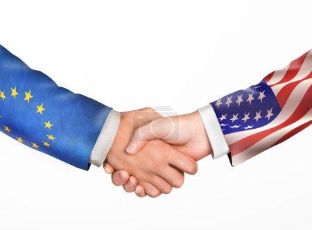 Man shake hands. Friendship countries.