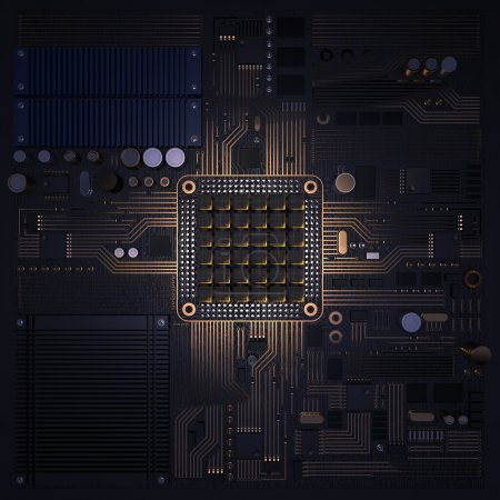 Photo for Electronic circuit chip on PC board. High resolution. - Royalty Free Image