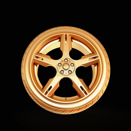 Golden tire on black isolated background.