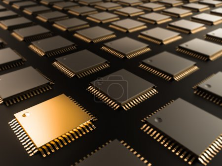 Photo for A processor (microchip) interconnected receiving and sending information. Concept of technology and future. High resolution. - Royalty Free Image