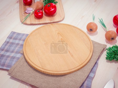 Photo for Mock up template pizza on a wooden table.  High resolution. - Royalty Free Image
