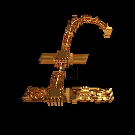Photo pour Concept d'entreprise. Symbole de livre des micropuces isolées sur fond noir. Haute résolution. 3D - image libre de droit