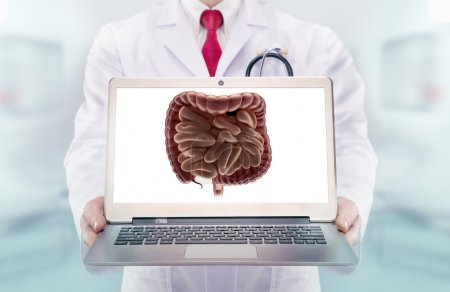 Doctor with stethoscope in a hospital. Digestive system on the laptop monitor