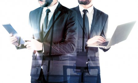 Double exposure of two businessmen
