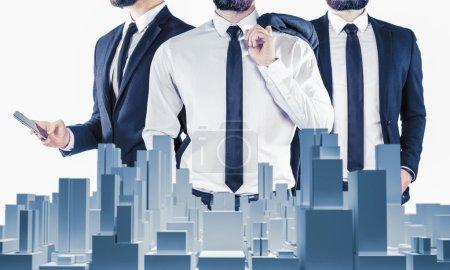 Photo pour Double exposition de trois hommes d'affaires et - image libre de droit