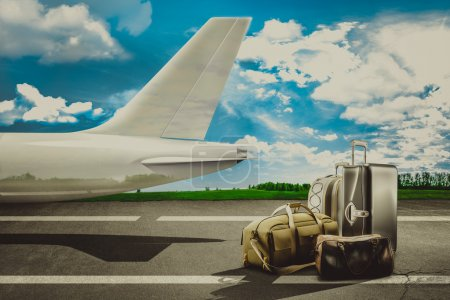 Travel bags in airport and airliner. Concept