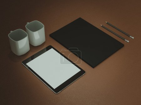 Mockup business template. Set of elements on the braun table.