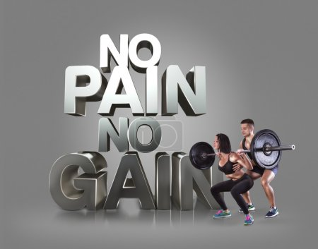Athletic young man and beauty woman lifting a rod on the gray background Motivational fitness phrases