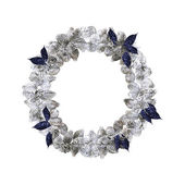 Silver christmas wreath with decorations isolated on white background