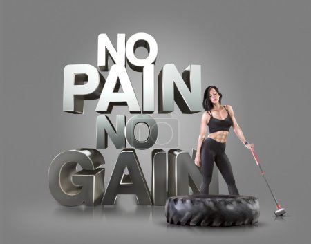 Sport woman holding a hammer on the background Motivational fitness phrases