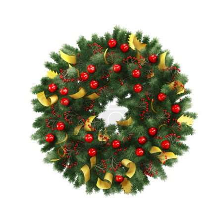 Photo for Green christmas wreath with decorations isolated on white background - Royalty Free Image