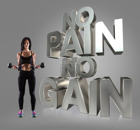 Sport woman holding a dumbells on the background Motivational fitness phrases