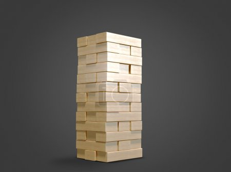 Blocks wood game  jenga  on black background.