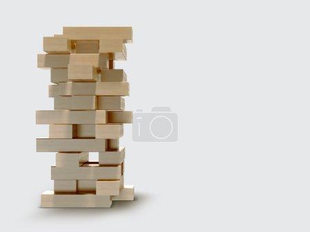 Photo for Blocks wood game  jenga  on gray background. - Royalty Free Image