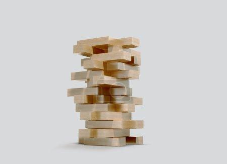 Blocks wood game  jenga  on gray background.