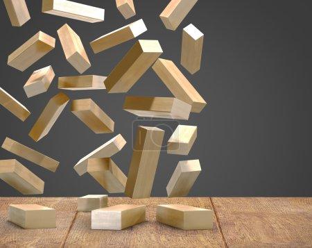 Photo for Blocks wood game  jenga  on wood floor black background. - Royalty Free Image