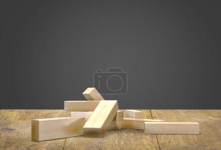 Blocks wood game  jenga  on wood floor black background.