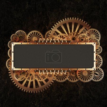 Photo pour Collage de steampunk mécanique stylisée. Faite de détails cadre et sur des roulettes en métal. - image libre de droit
