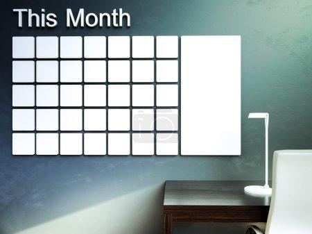 Wall calendar. Schedule memo management organizer concept