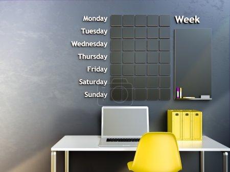 Wall calendar. Schedule memo management organizer concept. 3d rendering interior