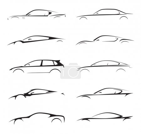 Concept supercar, sports car and sedan motor vehicle silhouette set. Vector illustration.
