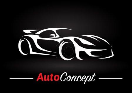 Illustration pour Conception originale de concept de moteur automobile d'une silhouette de voiture de sport super sur fond noir. Illustration vectorielle . - image libre de droit
