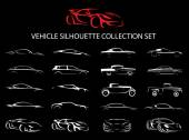 Supercar and regular car vehicle silhouette collection set