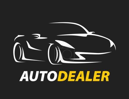 Illustration pour Concept original auto concessionnaire voiture logo avec supercar sport véhicule silhouette sur fond noir. Illustration vectorielle . - image libre de droit