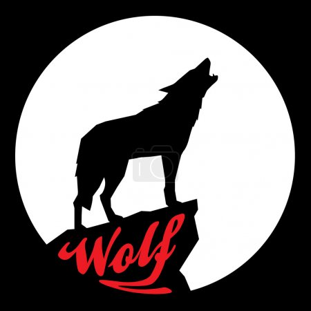 Full Moon with Howling Wolf Silhouette