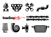 Vehicle Parts Icons for High Performance Turbo Kit