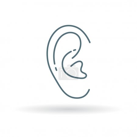 Illustration for Ear icon. Ear sign. Ear symbol. Thin line icon on white background. Vector illustration. - Royalty Free Image