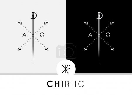 Chi-Rho Symbol design with sword & arrows combined with Alpha & Omega signs