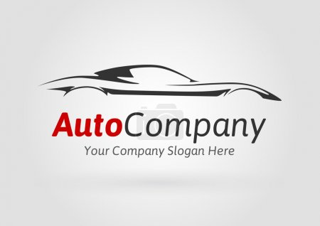 Modern Auto Company Vehicle Logo Design Concept with Sports Car Silhouette