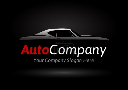 Auto Company Vehicle Logo Design Concept with classic American style sports Car Silhouette