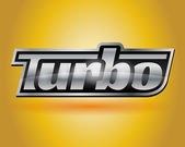 Metallic chrome silver vehicle turbo badge emblem