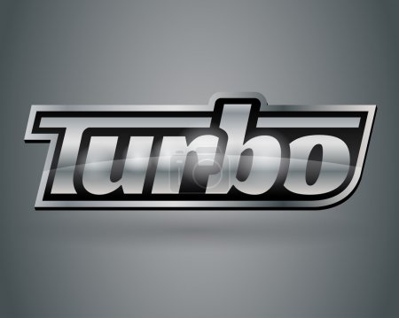 Metallic chrome silver vehicle turbo badge emblem
