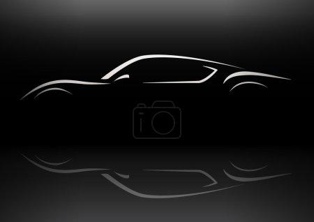 Concept retro style sports car silhouette design