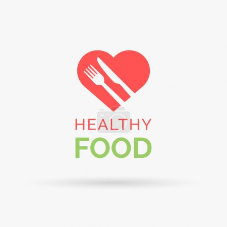 Healthy food icon with heart, fork and knife. Vector illustration.