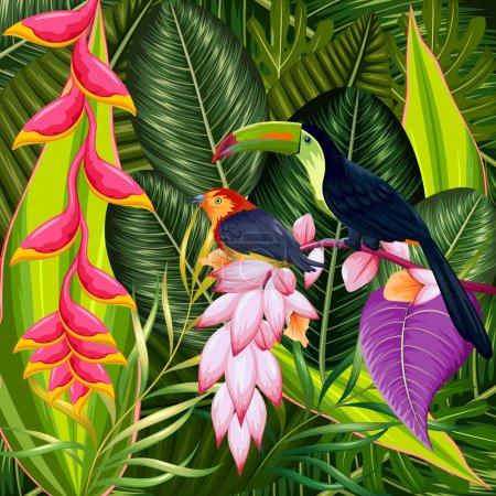 Photo pour Illustration de fond tropical exotique avec fleur colorée et toucan - image libre de droit