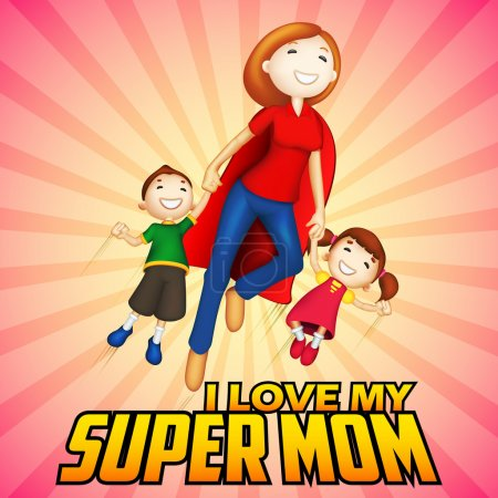 Supermom with kids in Happy Mothers Day card