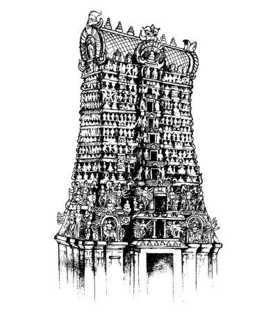 Illustration pour Illustration du temple Meenakshi Amman de Madurai, Tamil Nadu - image libre de droit