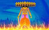 Illustration of Ravan Dahan for Dusshera celebration